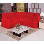 Capa Para Sofa De Canto Cor Vermelha Malha Gel Com Elastico