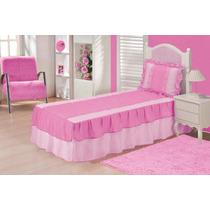 Colcha Juvenil Solteiro + Cortina Pink C/ Rosa 04 Peças