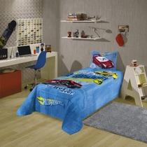 Kit Infantil Carros Hot Wheels Edredom+ Jogo De Cama +toalha