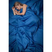 Jogo De Lençol Queen Cetim 4 Peças - Cor Azul