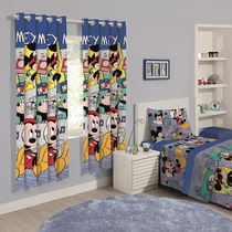 Cortina Infantil 02 Peças Disney Mickey Sound - Santista