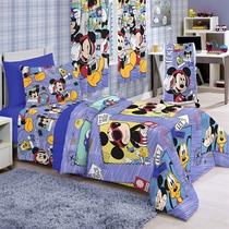 Jogo De Cama Solteiro Santista Disney Mickey Sound Azul