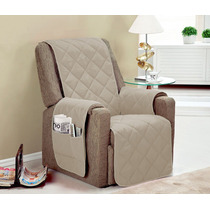 Protetor Para Sofa Poltrona 1 Pçs Cor Bege Toda Com Vieis