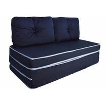 Puff Conforto Casal 3x1 C/travesseiro Sofá Colchão Az/marron