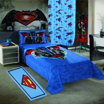 Kit Colcha Batman Vs Superman Com Cortina+tapete Do Superman