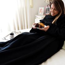 Cobertor Com Mangas Em Soft Adulto - Preto - Lux Confort