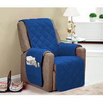 Protetor Para Sofa Poltrona 1 Pçs Cor Azul Toda Com Vieis