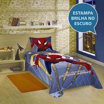 Colcha Infantil Homem Aranha Spider Man Cama Q Brilha Escuro