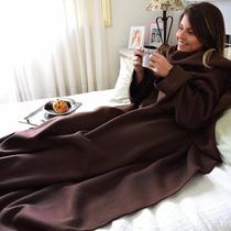 Cobertor Com Mangas Em Soft - Adulto - Marrom