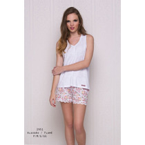 Pijama Feminino 100% Algodão Bermuda Floral Toque Intimo
