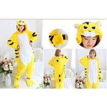 Pijama Adulto Macacão Tigre Tigrão Amarelo Com Capuz