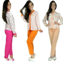 Pijamas Longo Adulto Feminino Blusa Manga Comprida E Calça