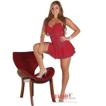 Camisola Feminina Curta Vermelha Tatiany Em Tule   Sexy