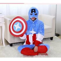 Pijama Adulto Macacão Plush Capitao America Avengers Capuz