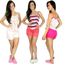 Pijama Curto Adulto Feminino Blusinha Alça Short Baby Doll
