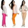 Kit 5 Pijamas Longo Adulto Feminino Blusa Manga Comprida