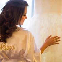 Roupão Robe Cetim Feminino Noiva Personalizado Dia Da Noiva
