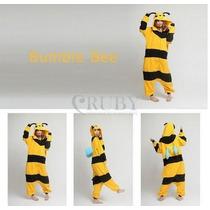 Pijama Adulto Macacão Plush Abelha Bee Com Capuz