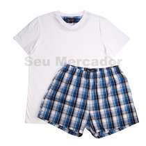 Pijama Masculino Camisa E Short Xadrez Cinza Branco P M G Gg