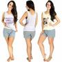 Kit 5 Pijama Curto Adulto Feminino Blusa Estampada E Short