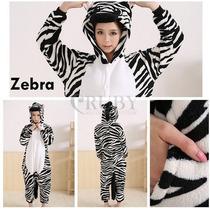 Pijama Adulto Macacão Animal Zebra Com Capuz