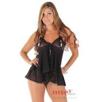 Camisola Sensual Curta Preta Leona Lingerie Sexy +brinde