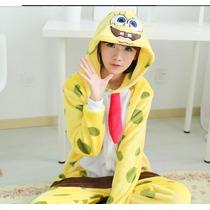 Pijama Adulto Macacão Plush Bob Esponja Com Capuz