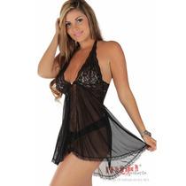 Camisolas Sensuais Bel Preta + Calcinha | Camisola Sensual