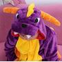 Pijama Macacão Infantil Dinossauro Roxo Animal Desenho Capuz