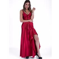 Camisola Luxo Sexy Longa Em Cetim Promesse | Camisolas Sexys
