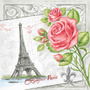 Pacote De Guardanapos De Papel Bonjour Paris Grey 33x33cm 20