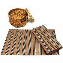 Jogo Americano Bambu Com 4 Peças + Porta 6 Copos Rattan Kit