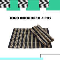 Conjunto Jogo Americano Esteira Bambu Toalha Cozinha Mesa