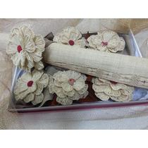 Kit Trilho Mesa Porta Guardanapo Sousplat Rosa Crochet Palha