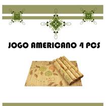 Conjunto Jogo Americano Esteira Toalha Cozinha Mesa Bambu