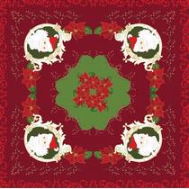 Toalha Centro De Mesa 75x75cm Natal Flores Vermelha - Lepper