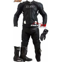 Macacão De Couro Motociclista X11+bota Texx Super Tech+luva