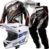 Kit Pro Tork Trilha Motocross Capacete Calça Camisa Óculos