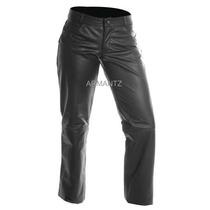 Calça De Couro Feminina Tradicional Augustu Igual Jeans Moto