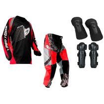 Kit Joelheira Cotoveleira Calça Camisa Trilha Motocross Tork