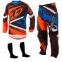 Kit Calça Camisa Infantil Insane 4 Laranja Motocross Tork