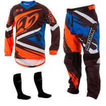 Conjunto Calça Camisa Insane 4 Laranja Motocross Pro Tork