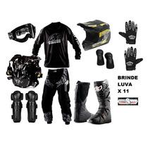 Kit Black Pro Tork Equipamento Motocross Enduro + 2 Brindes