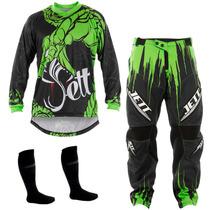 Kit Calça + Camisa Jett Collors Veneno Verde Motocross