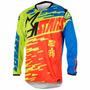 Camisa Alpinestars Racer Braap 2016 - Verm/azul Lima/verde