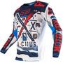 Camisa Fox 180 Vicious 16 Azul/branco G(l) Rs1