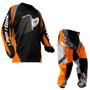 Calça Camisa Insane Infantil Protork Motocross Kids Laranja