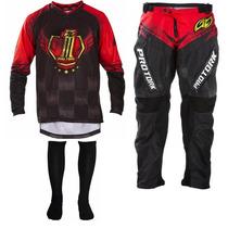 Kit Conjunto Calça Camisa Tork Insane 5 Vermelho Motocross