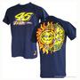 Camiseta Azul G Valentino Rossi Moto Gp 46 Nova Sol Lua