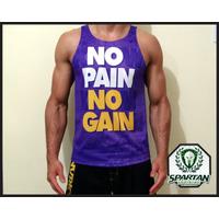 Combo 6 Camisetas Academia Regata No Pain No Gain Musculação
